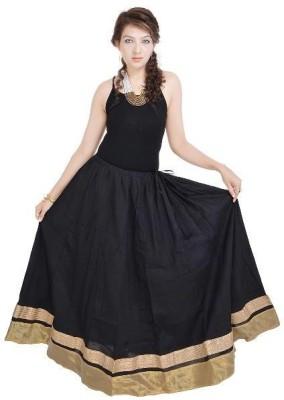 Navya Creations Printed Women's Straight Black Skirt