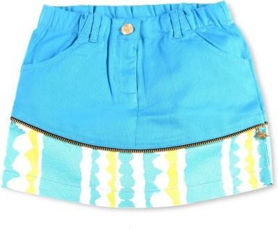 Cherry Crumble California Printed, Self Design Girl's A-line Blue Skirt