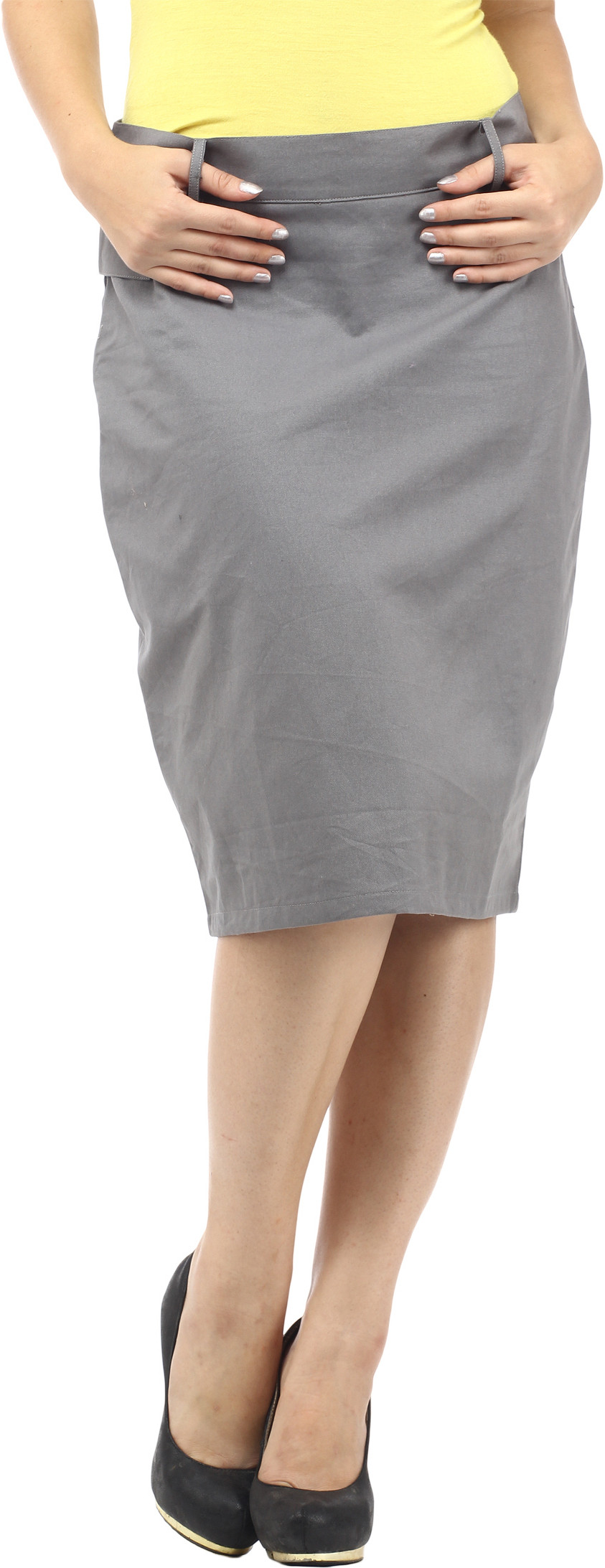 Cottinfab Solid Womens Straight Grey Skirt