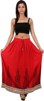 Freedom Daisy Printed Women's Regular Red Skirt