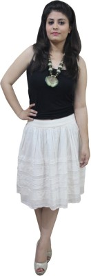 CrazeVilla Solid Women's Pleated White Skirt
