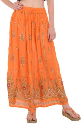 Skirts & Scarves Embellished Women's Broomstick Orange Skirt