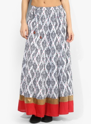 Avishi Printed Women's Gathered White, Red, Black Skirt