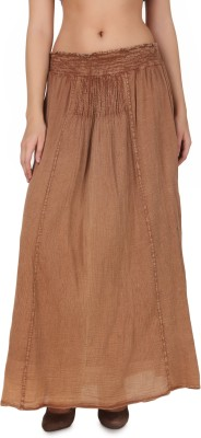 One Femme Solid Women's Broomstick Brown Skirt