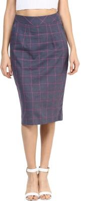 Roving Mode Checkered Women's Pencil Blue Skirt