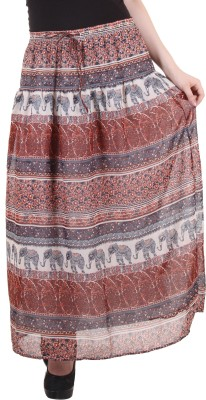 Hotberries Printed Women's Regular Blue, Brown Skirt