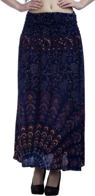 Indi Bargain Printed Women's A-line Blue Skirt
