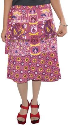 Shreeka Printed Women's Wrap Around Pink, White Skirt