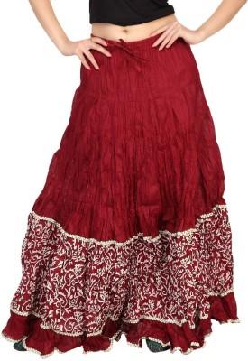 Carrel Printed Women's Broomstick Maroon, Beige Skirt