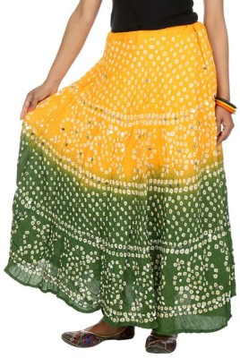 Ooltha Chashma Self Design Women's Broomstick Yellow, Green Skirt