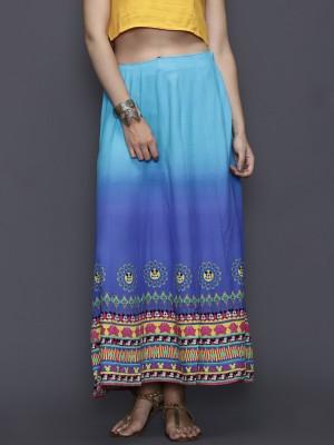 Anouk Printed Women's A-line Blue Skirt