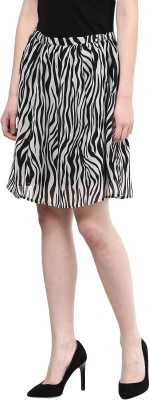 The Vanca Printed Women's A-line Black Skirt