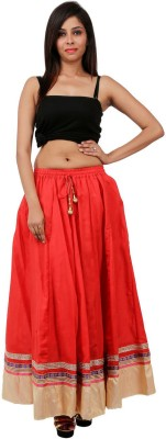 Sunshine Solid Women's A-line Red Skirt