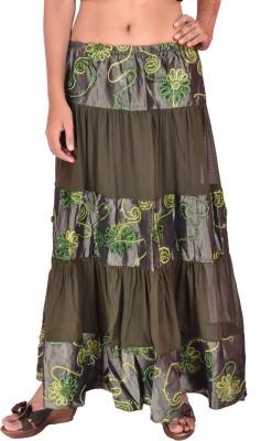 Krazzy Collection Solid, Self Design Women's Tiered Dark Green Skirt