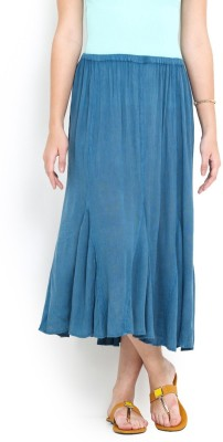 Trend Arrest Solid Women,s Gathered Blue Skirt
