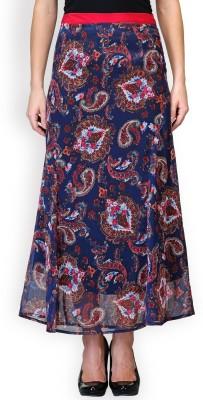Purplicious Floral Print Women's A-line Blue Skirt