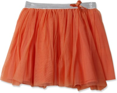 London Fog Solid Girl's Gathered Orange Skirt