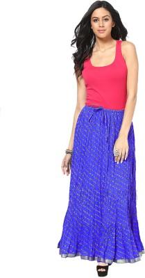 Factorywala Printed Women,s Wrap Around Dark Blue Skirt