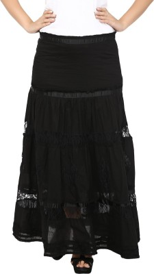 Eves Pret A Porter Solid Women's Gathered Black Skirt