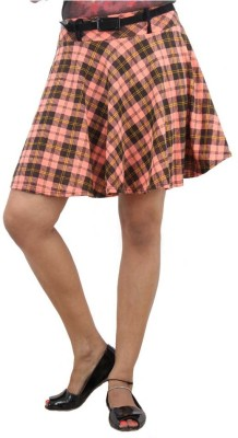 LondonHouze Checkered Women's A-line Orange Skirt