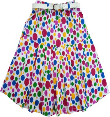 Sweet Angel Polka Print Girl,s Pleated Multicolor Skirt