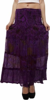 Indi Bargain Floral Print Women's A-line Purple Skirt