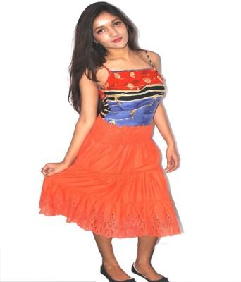 Blueuno Beachwear Embroidered Women's Gathered Orange Skirt