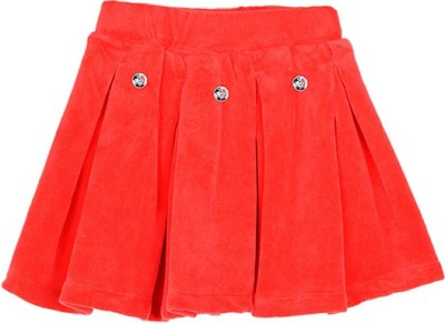 Lil Orchids Solid Girl,s Pleated Red Skirt
