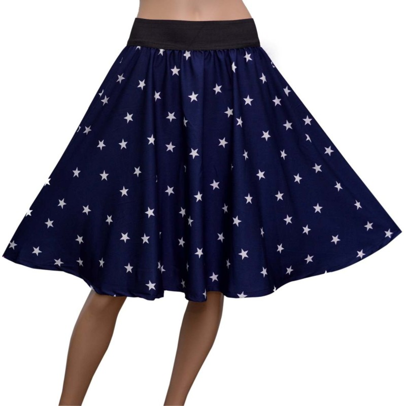 Grace Diva Printed Women's Gathered Blue Skirt