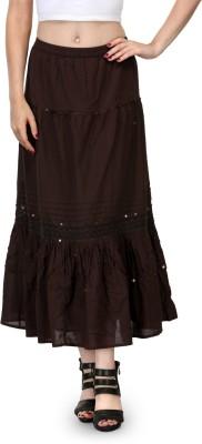 India Inc Solid Women's Regular Brown Skirt