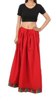 Shopatplaces Self Design Women's Regular Red Skirt