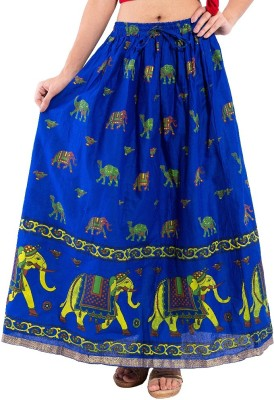 Decot Paradise Animal Print Women's Regular Blue Skirt