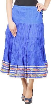 Adaab Solid Women's Layered Blue Skirt