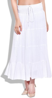 Eves Pret A Porter Solid Women's A-line White Skirt