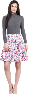 Rare Floral Print Women's Pleated Multicolor Skirt