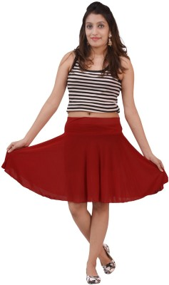 carrol Solid Women's A-line Maroon Skirt