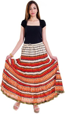 RV COLLECTION Printed Girl's Wrap Around Multicolor Skirt