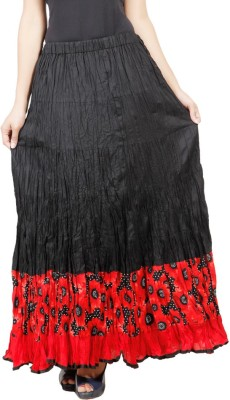 Adaab Solid, Floral Print Women's Layered Black Skirt