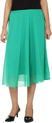 Tops and Tunics Solid Women's Regular Green Skirt
