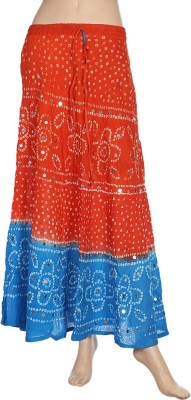Ooltha Chashma Printed Women's Broomstick Red, Blue Skirt