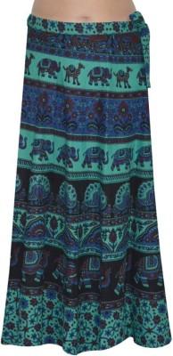 MDS Jeans Animal Print Women's Wrap Around Light Green, Blue Skirt