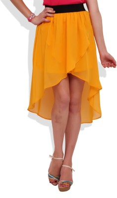 Street 9 Solid Women's Asymetric Yellow Skirt
