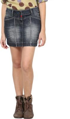 Species Solid Women's Straight Blue Skirt