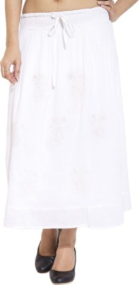 Simplona beau Embroidered Women's A-line White Skirt