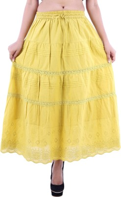 Goodwill Impex Solid Women's A-line Yellow Skirt