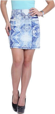 Pera Doce Printed Women's A-line Blue Skirt