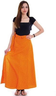 Halowishes Printed Girls Wrap Around Yellow, Maroon Skirt