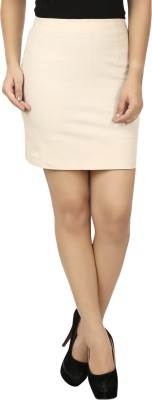 Eves Pret A Porter Solid Women's Straight Beige Skirt