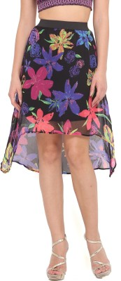 Ridress Floral Print Women's Regular Multicolor Skirt