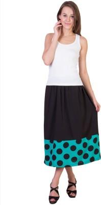 Essential Elements Polka Print Women's Gathered Green Skirt